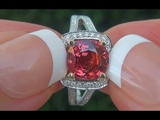 GIA Certified UNHEATED VVS Natural Red Orange Spinel and Diamond 14k Gold Ring TOP GEM - C533