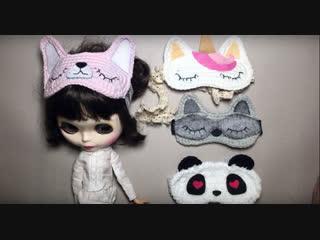 Схема вязания маски для сна для куклы Blythe- sleeping mask for dolls Blythe.
