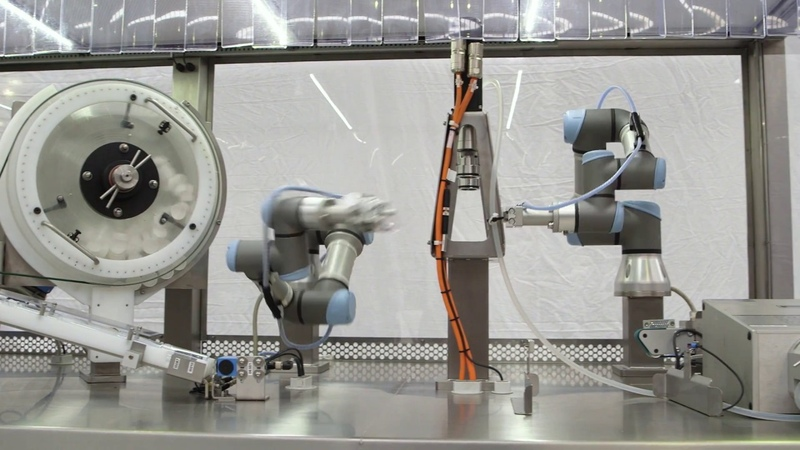 Tube Filling with UR3 collaborative robots
