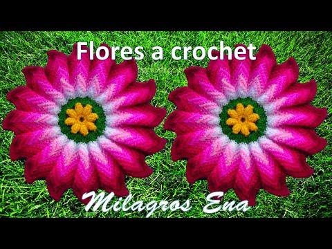 Flor tejida a crochet Dalia Rosada para tapetes, centros de mesa, cojines y caminos de mesa