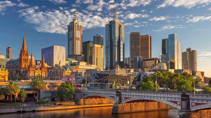 Картинка город. Мост, мост князей, Мельбурн, река Ярра, здания, небоскрёбы