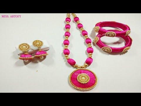 DIY Silk Thread Jwellery Set  Easy and beautiful  Silk Jhumka Silk Bangles Silk Neckless