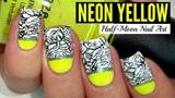 NEON YELLOW HALF-MOON + STAMPING NAIL ART TUTORIAL