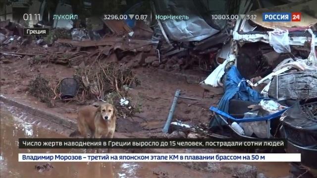 Новости на Россия 24 • В Греции объявлен траур по погибшим от наводнения