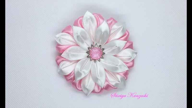 Украшение на заколку Канзаши Розово-белый цветок