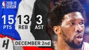 Joel Embiid Full Highlights 76ers vs Grizzlies 2018.12.02 - 15 Pts, 3 Ast, 13 Rebounds!