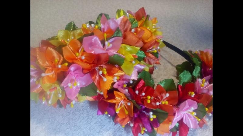 Ободок с маленькими цветочками из лент. Канзаши.