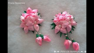 Резиночки с нежными цветочками/ Канзаши