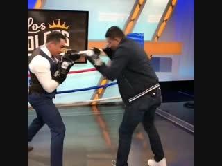 Хуан Мануэль Маркес и Мигель Берчельт на передаче показали уроки по боксу.🥊