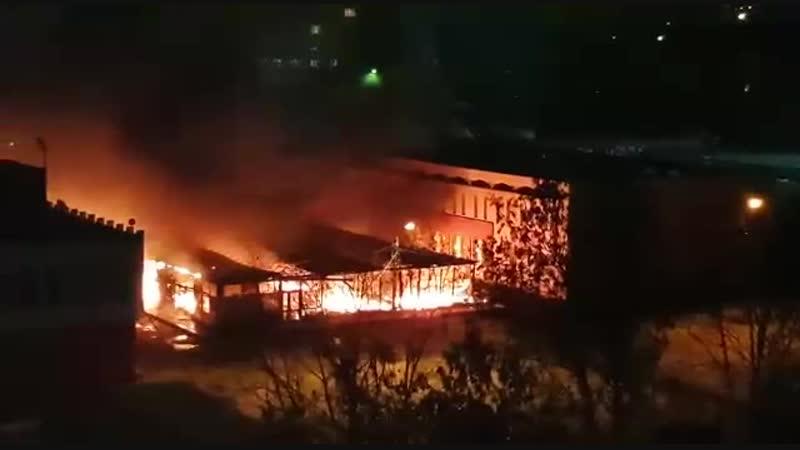 Тверь, горит рынок в Юности, 21 ноября 2018 года
