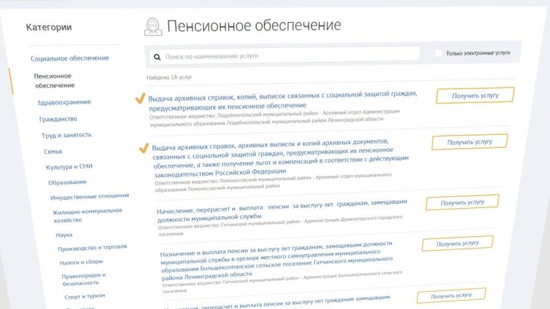 Государственные и муниципальные услуги Ленинградской области (Пожилым людям)