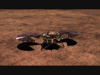 Анимация развертывания солнечных панелей Инсайт (InSight) NASA / JPL-Caltech