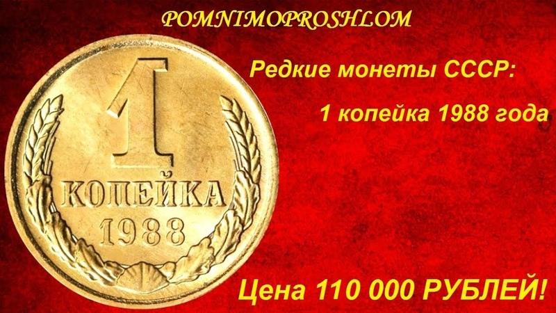 Редкие монеты СССР: 1 копейка 1988 - цена 110 000 рублей!