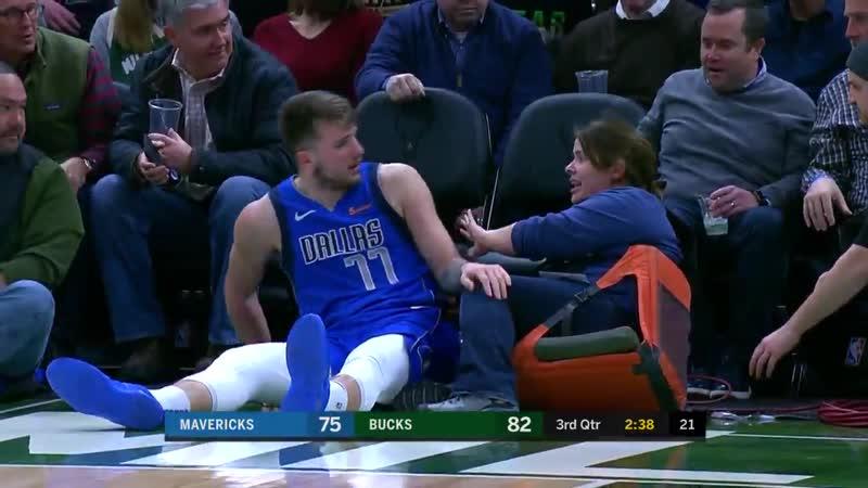 Лука Дончич снова упал на оператора