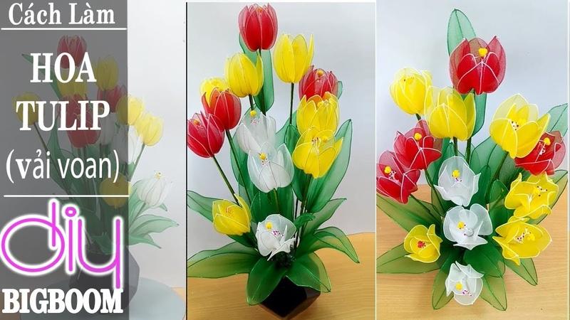 Hướng dẫn cách tự làm Hoa Tulip bằng Vải Voan đơn giản để trang trí   DBB-VN