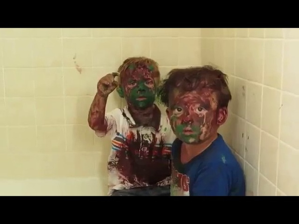 Dad cant stop laughing while trying to punish sons covered in paint (UNEDITED)