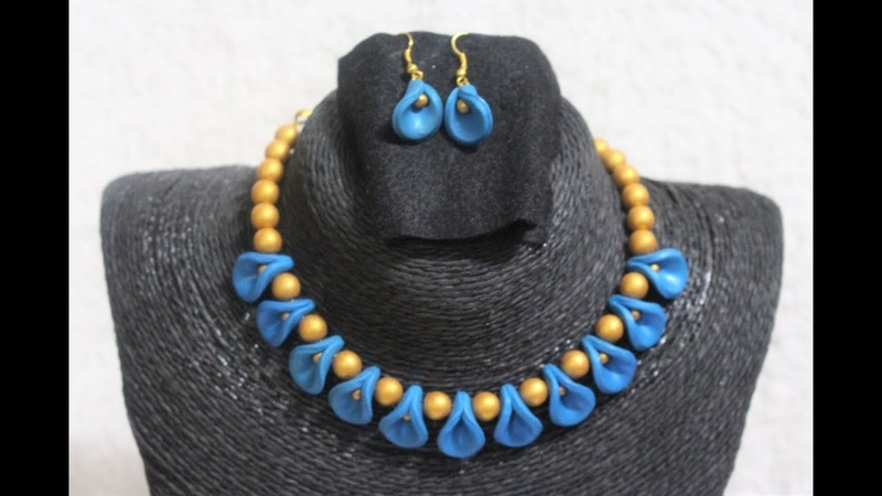 Polymer Clay Blue and Gold Necklace Set