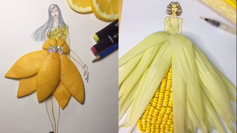 Have you seen beautiful dresses made with vegetables and fruit?