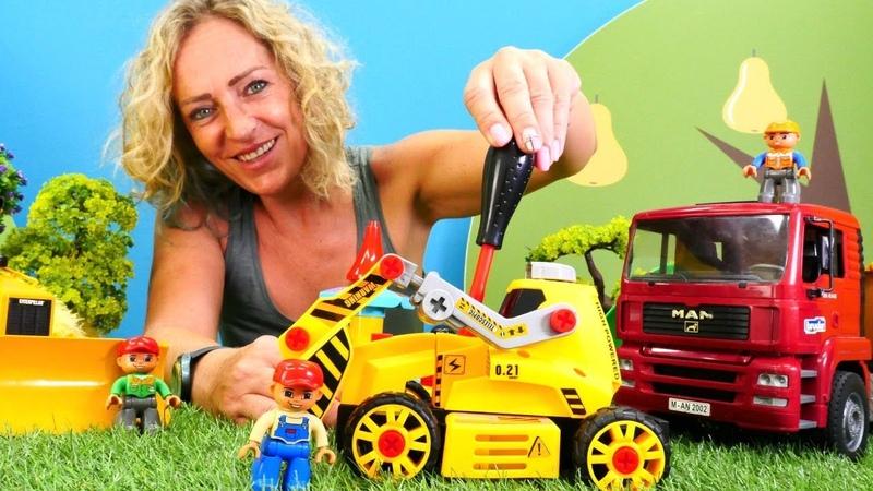 Araba oyunları. LEGO oyuncakları oyun parkı kuruyor