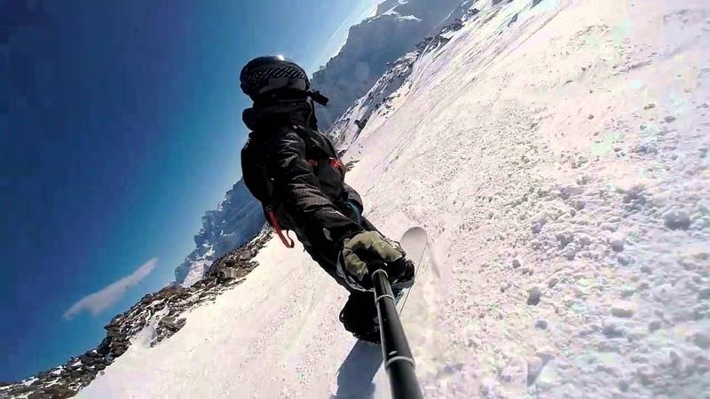 спуск на сноуборде Эльбрус Гара-Баши - Мир 10.01.2016