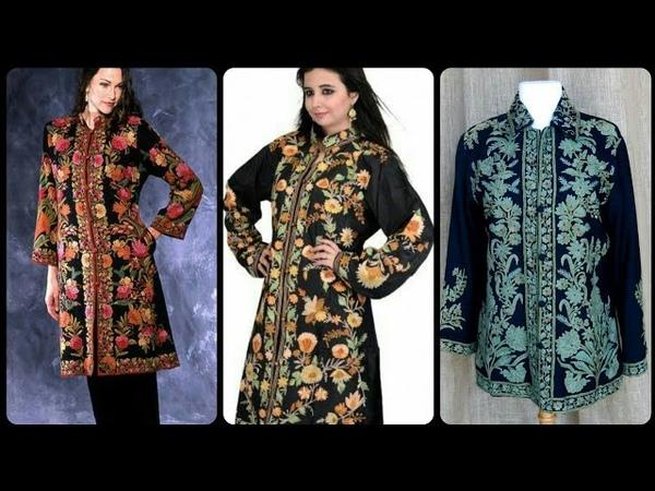 Latest kashmiri long jacket/coat with ari embroidery