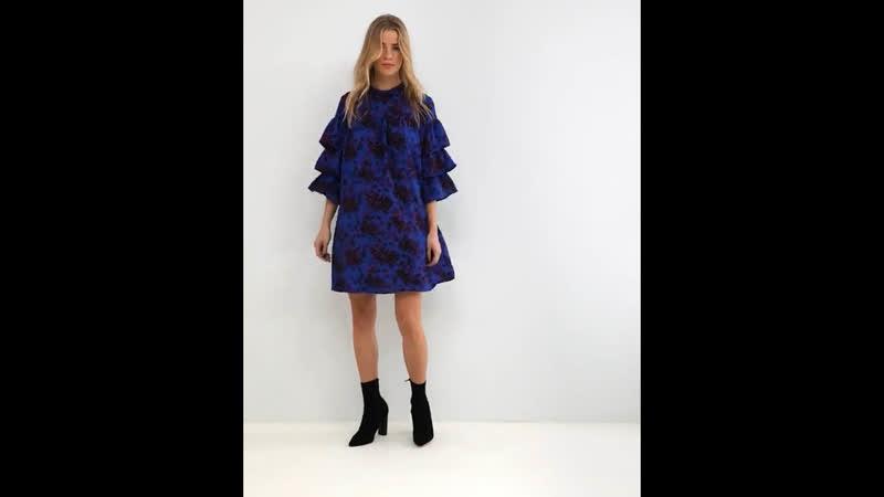 Ярко-синее платье с воротником-стойкой и объемными рукавами ASOS Only