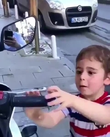 Wondering boy he want to ride , push accelerator 
