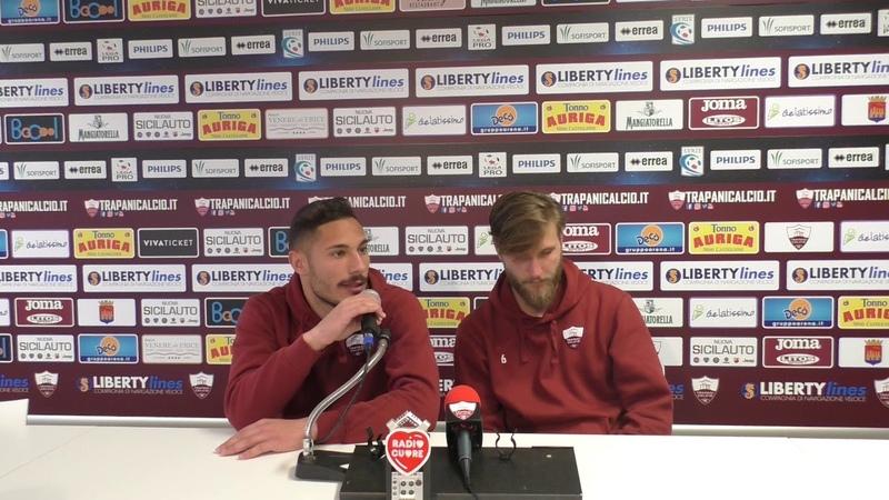 Trapani-Monopoli 4-2. Salvatore Aloi e Stefano Scognamillo dopo la gara