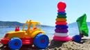 Развивающие мультики для детей. Учим цвета с машинками в песке.