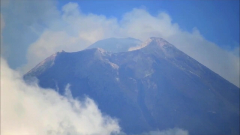 Mount Etna Volcano Explosions and birds 25 Aug 2018