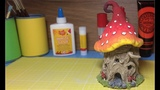 How To Make a Fantasy Treestump Mushroom House, Paper Clay toadstool ,Fairy Ornament