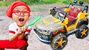Car for kids Power wheels car wash pretend play by Dave Mario and brother