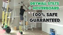 CRAZY Drywall Construction Worker Uses Flat Box while Riding Hoverboard ON STILTS