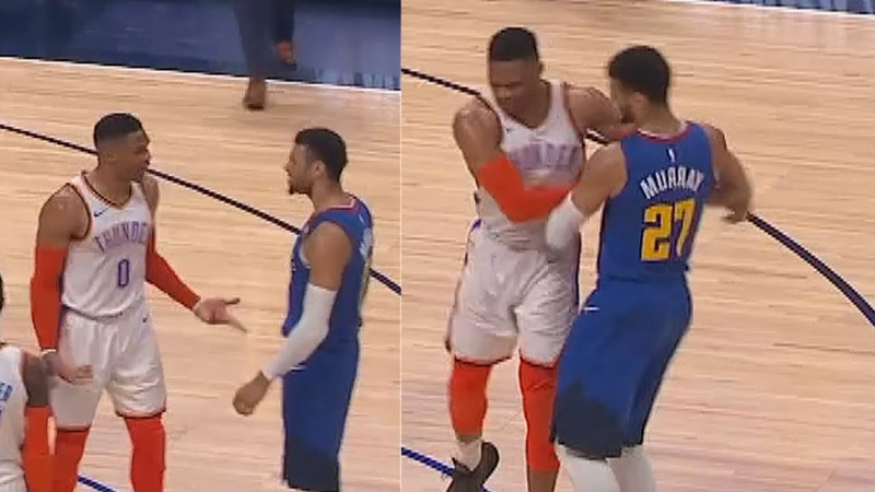 Russell Westbrook Wanna Fight Jamal Murray Nikola Jokic After Shoving Thunder vs Nuggets
