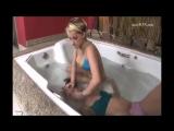 Lesbian breathplay in bathtub