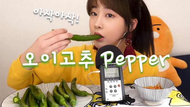 ASMR_Fresh Cucumber Pepper Eating Sounds! 세상에서 제~~일 좋아하는 아삭아삭 신선한 오이고추 11개!