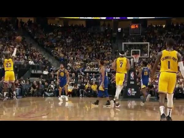 LeBron James 40 FOOT BUZZER BEATER! Warriors vs Lakers