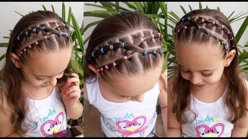 Penteado Infantil fácil com tiara de cabelo e ligas coloridas