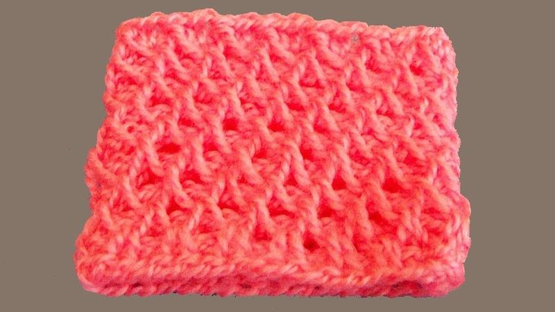 Узор соты. Вязание по кругу. Тунисское вязание. Соты крючком. Узор крючком. (Honeycomb pattern)