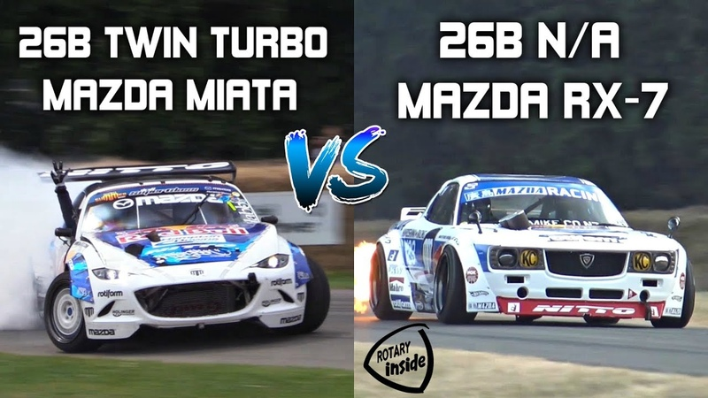 Mad Mike's 4-Rotor Twin Turbo Miata vs 4-Rotor N/A Madbul RX-7 - CRAZY Screaming Rotary Battle!