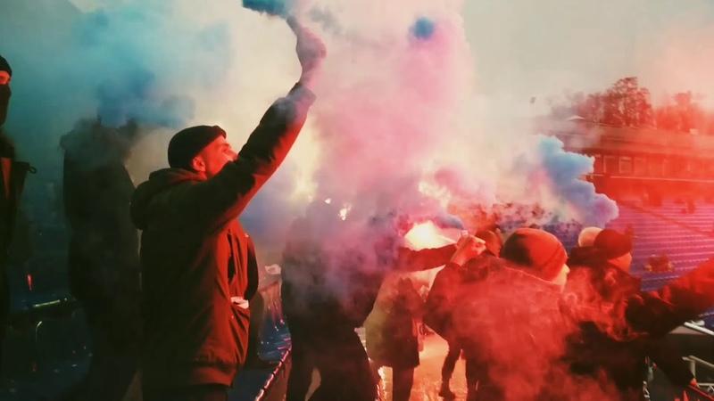 Фанаты Десны Чернигов на матче против Олимпика Донецк 09.12.18