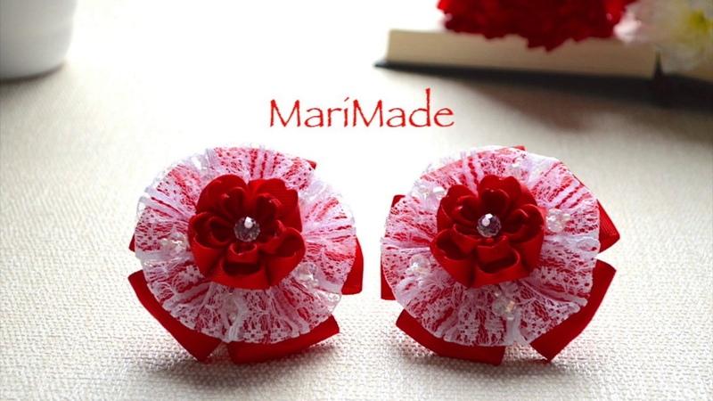 Канзаши Сердечки Бантики Резинки Kanzashi Bows St Valentine Day