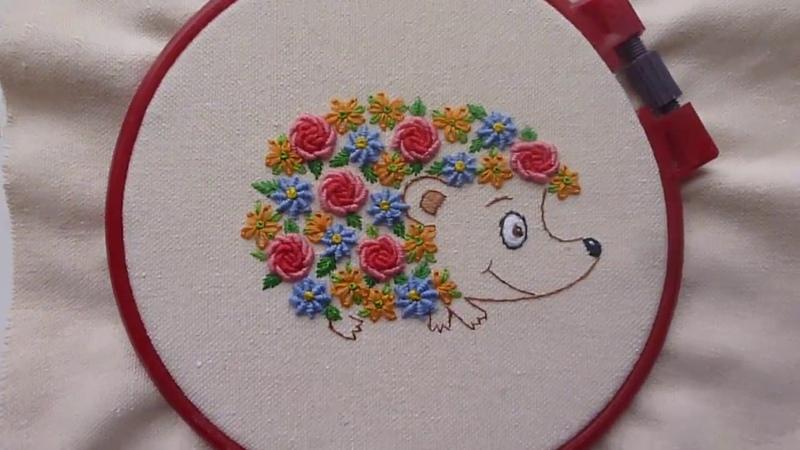Цветочный ёжик бразильская вышивка, вышивка контуром для начинающих