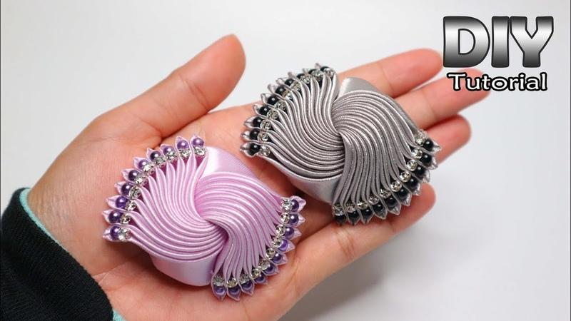 DIY Tutorial Kanzashi Galaxy Satin Ribbon Elegant Brooch Gurita manja How to make Flower
