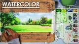 Watercolor Landscape Painting A Bright Sunny Day step by step