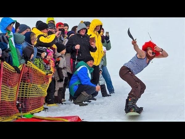 Закрытие горнолыжного сезона в Ханты-Мансийске превратилось в купание и бег по вертикали