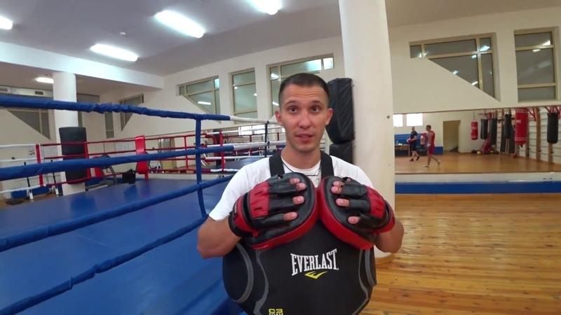 Бокс для начинающих Тренировка на лапах удары по груше спарринг