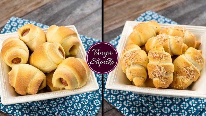Сосиски в Тесте Итальянские Чесночные Булочки   Sausage Rolls Garlic Rolls   Tanya Shpilko