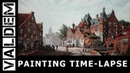 PAINTING TIME-LAPSE | A Busy Street on a Sunny Day in a Dutch Town