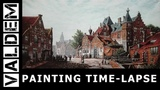PAINTING TIME-LAPSE A Busy Street on a Sunny Day in a Dutch Town
